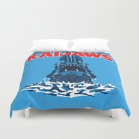 pacific rim Duvet Covers featuring KaiJaws (Pacific Rim/Jaws) by Tabner's