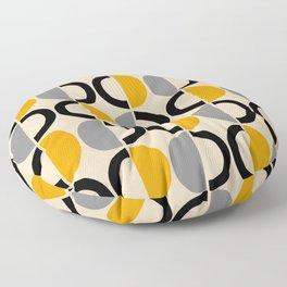 Mid Century Modern Half Circle Pattern 547 Beige Black Gray and Yellow Floor Pillow