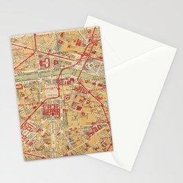 Paris City Centre Map - Vintage Full Color Stationery Cards