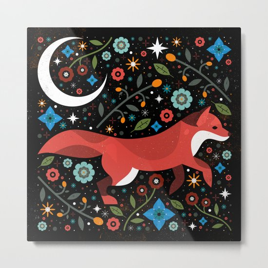 Flame Fox Metal Print