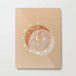 Zodiac Wheel Moon Metal Print