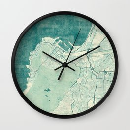 Cape Town Map Blue Vintage Wall Clock