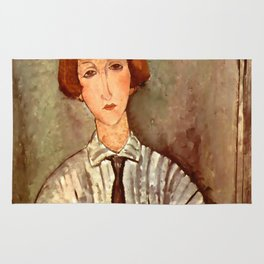 """Amedeo Modigliani """"Young Girl in a Striped Blouse"""" Rug"""
