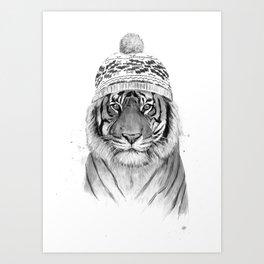 Siberian tiger (b&w) Art Print