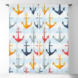 Colorful Summer Beach Yellow Grey Red Blue Nautical Anchor Pattern Blackout Curtain