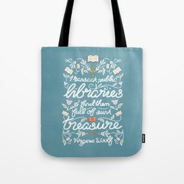 Virginia Woolf Library Literature Quote - Book Nerd Tote Bag