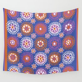 Flower Doodles Cobalt Blue, circles and flowers design Wall Tapestry