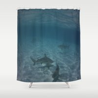 sharks Shower Curtains featuring Sharks Sharks and more Sharks by Camcreative