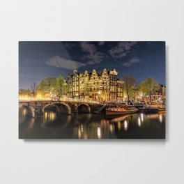 Amsterdam Bridge in the Netherlands night scene Metal Print