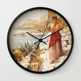 vintage travel poster Wall Clock