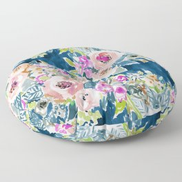 NAVY SO LUSCIOUS Colorful Watercolor Floral Floor Pillow