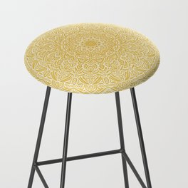 Most Detailed Mandala! Yellow Golden Color Intricate Detail Ethnic Mandalas Zentangle Maze Pattern Bar Stool