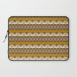 Ethnic african striped pattern with Adinkra simbols. Laptop Sleeve