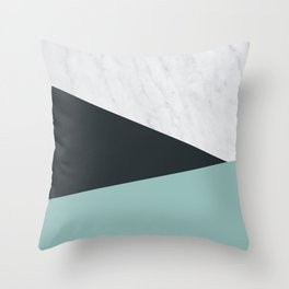 Marble, dark navy and turquoise Throw Pillow