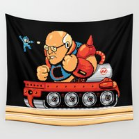 dick Wall Tapestries featuring Megaman vs Dick Cheney by Jude Buffum