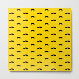 Black Mustache pattern on yellow background Metal Print