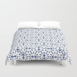 Navy Blue Anchors and Stars Nautical Pattern Duvet Cover