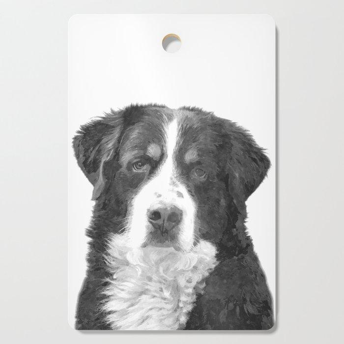 Black and White Bernese Mountain Dog Cutting Board