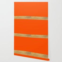 Color Blocked Gold & Poppy Wallpaper