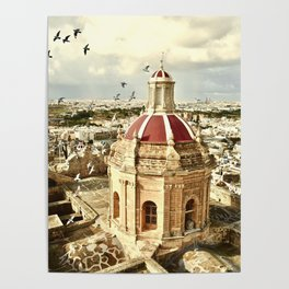 An aerial shot of the Parish Church of Saint Catherine, Zejtun Malta Poster