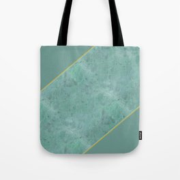 Emerald Green Marble with Gold Tote Bag