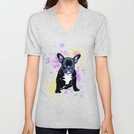French Bulldog Watercolor Inky Unisex V-Neck