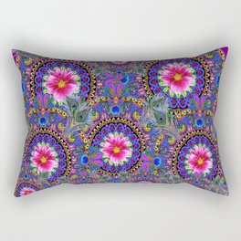 PURPLE PINK & BLUE PEACOCK MANDALAS WITH FLOWERS Rectangular Pillow