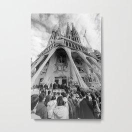 Tourists at the Passion Facade Sagrada Familia BW Metal Print
