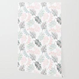 Large Pastel Palm Leaf Line Drawing Pattern - White Wallpaper