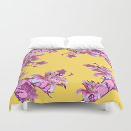 DECORATIVE YELLOW MODERN ART FLORAL Duvet Cover