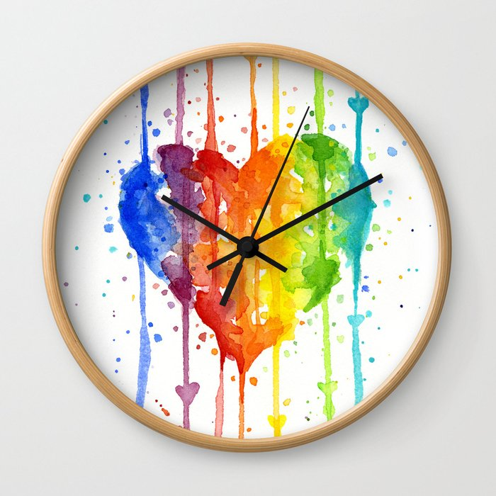 Heart Rainbow Watercolor Colorful Heart Painting Wall Clock