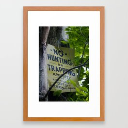 No Hunting Framed Art Print