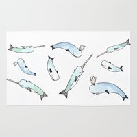 narwhal Area & Throw Rugs featuring Narwhal Friends by Brooke Weeber