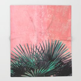 Palm on Pink wall II Throw Blanket