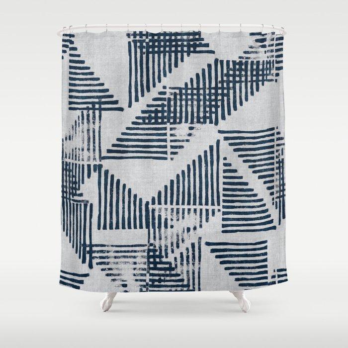 Stripe Triangle Geometric Block Print Pattern In Blue Grey Shower Curtain