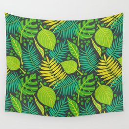 Tropical leaves on dark background Wall Tapestry
