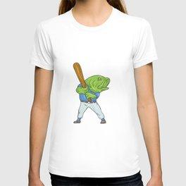 Largemouth Bass Baseball Player Batting Cartoon T-shirt