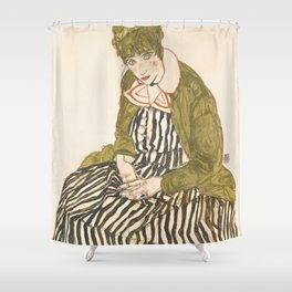 "Egon Schiele ""Edith with Striped Dress, Sitting"" Shower Curtain"