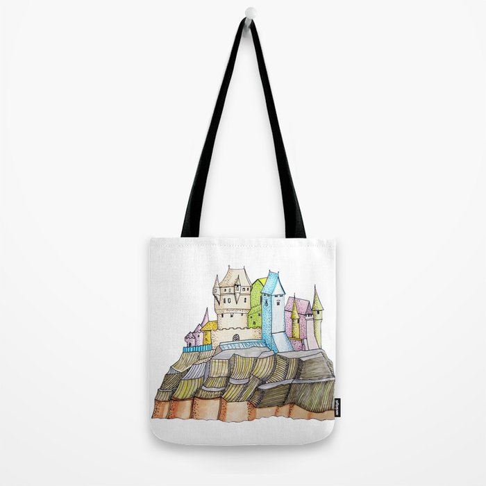 fairytale castle on a cliff Tote Bag