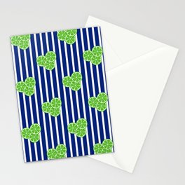 Lime Slices on Navy and White Stripes Stationery Cards
