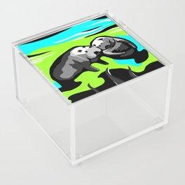 MANATEE LOVE in Blue Green Underwater Acrylic Box