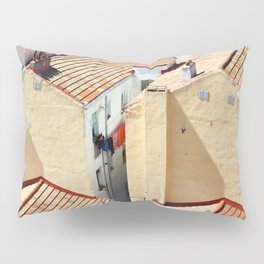 Old houses in poor quarter with tiled roofs Pillow Sham