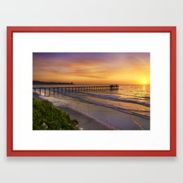 Scripps Pier Sunset Framed Art Print