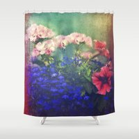 olivia joy Shower Curtains featuring Flowers of my joy by Victoria Herrera