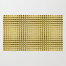 Golden Yellow Industrial Grid and Rivet Grill Pattern Rug