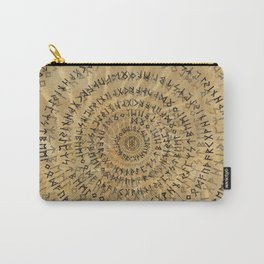 Elder Futhark Spiral Art on Wooden texture Carry-All Pouch
