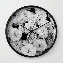 Halftone Flowers Wall Clock
