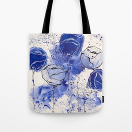 Blue and White Splotch Flowers Tote Bag