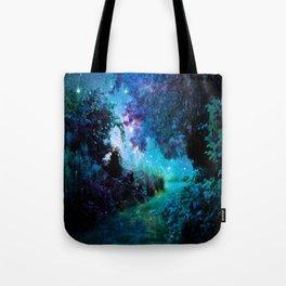 Fantasy Garden Path Teal Purple Tote Bag