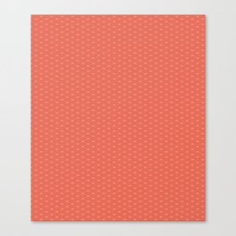 Pantone Living Coral Double Scallop Wave Pattern Canvas Print